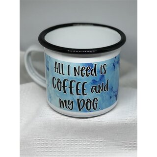 """Emaille-Tasse Border Collie """"All I need"""""""
